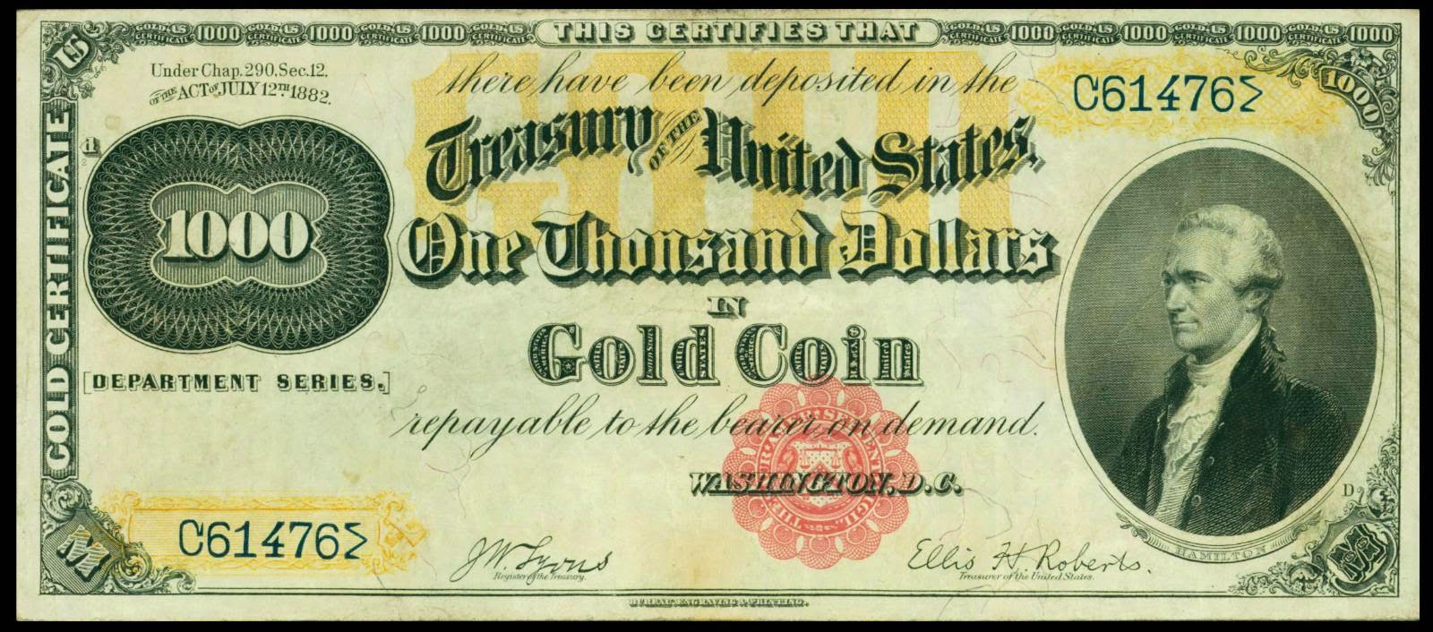 Large denominations of United States currency 1000 Dollars Gold Sertificate