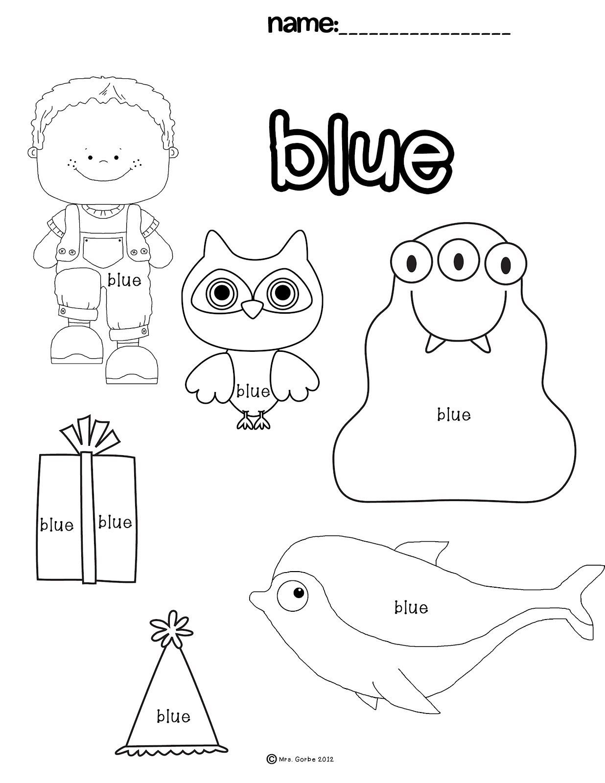 Color Blue Worksheets Preschool Sketch Coloring Page