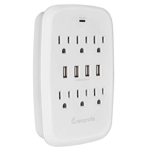 Grenprofa 6 Outlet Wall Plug Extender with 4 USB Ports