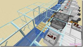 マインクラフト 水流を使った自動仕分け機 水路の感圧板