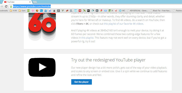 Enable HTML5 video player for YouTube