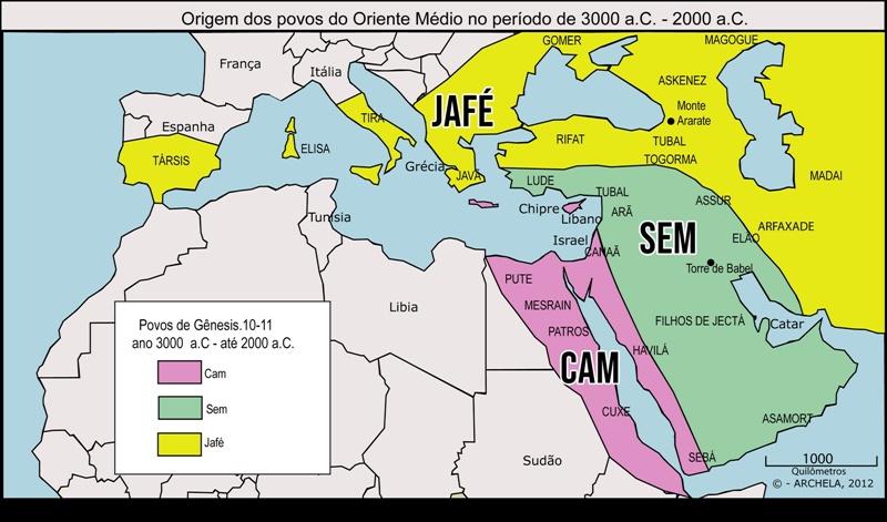 Mapa com as regiões dadas a cada filho de Noé no principio do mundo após o dilúvio