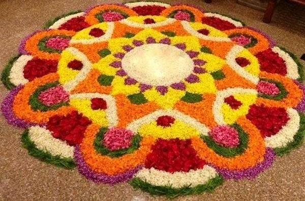 Different flower rangoli design