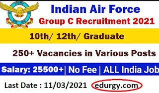 Indian Air Force Recruitment 2021 | Apply for 250+ Multi Tasking Staff, LDC & Clerk Vacancy