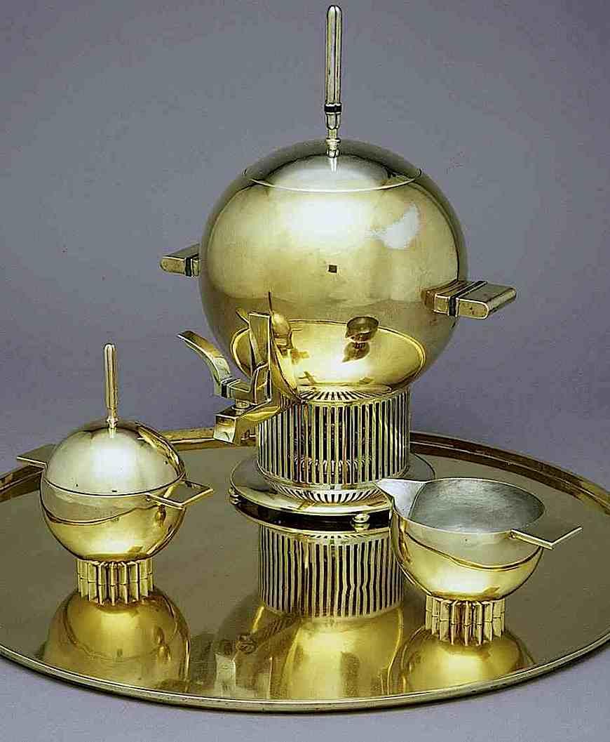 an Eliel Saarinen brass sphere coffee or tea set