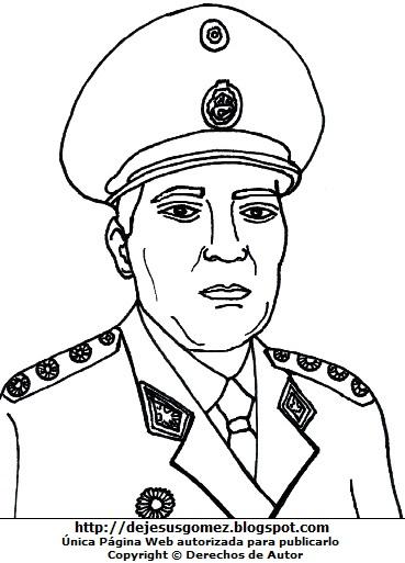 Dibujo de Francisco Morales Bermúdez de militar para dibujar o colorear. Gráfico de Francisco Morales Bermúdez de Jesus Gómez