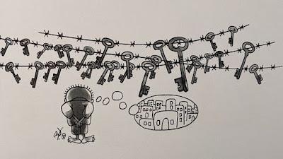Ilustraciones del artista palestino Nayi Al-Ali, creador de Handala, un niño de 10 años símbolo de la resistencia palestina.