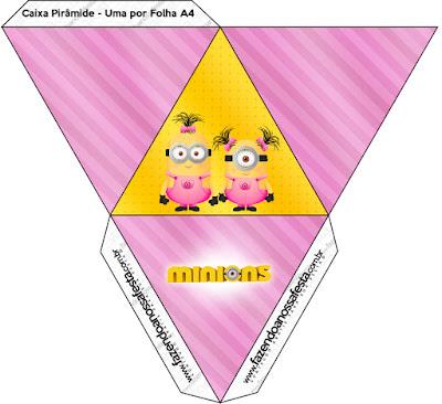 Caja con forma de pirámide de Minions Chicas.