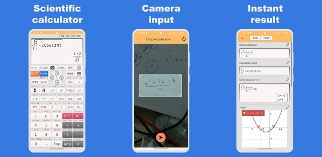 تنزيل Camera Math Calculator  تطبيق  آلة حاسبة علمية للكاميرا - التقاط صورة لحلها