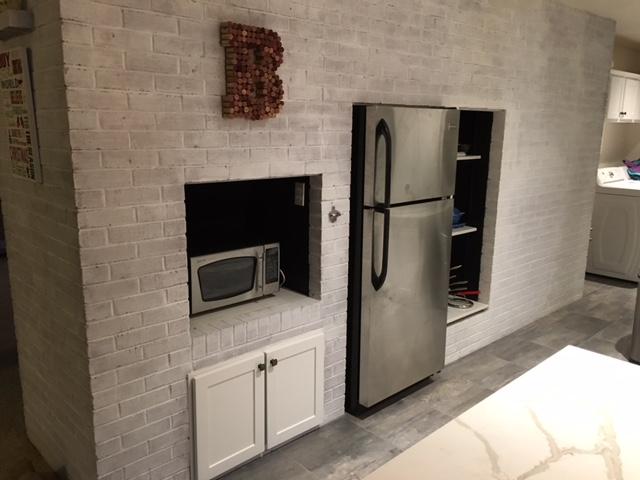 renovated kitchen, gray and white