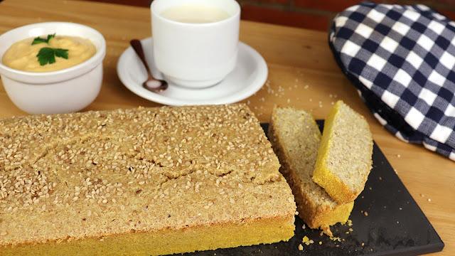 Pão integral sem glúten e vegano de quinoa Pensando ao contrário