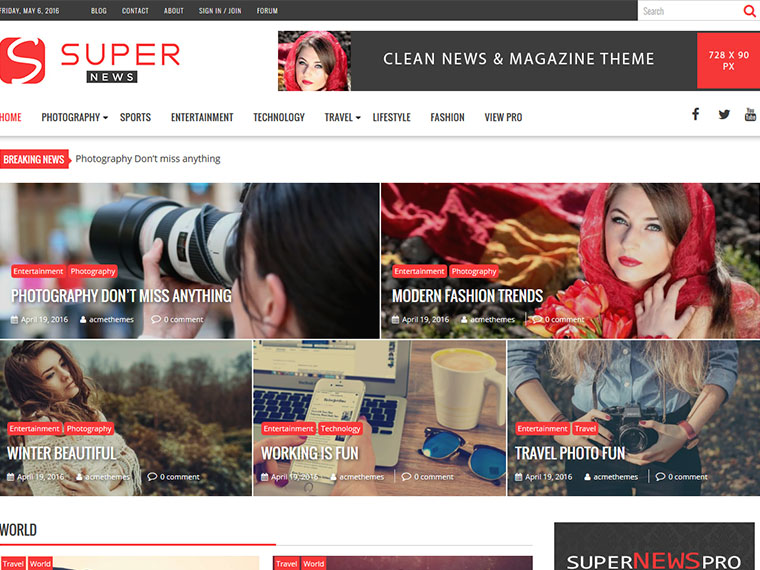 WORDPRESS THEME SUPERNEWS PRO: NEWS, MAGAZINE, PUBLISHING