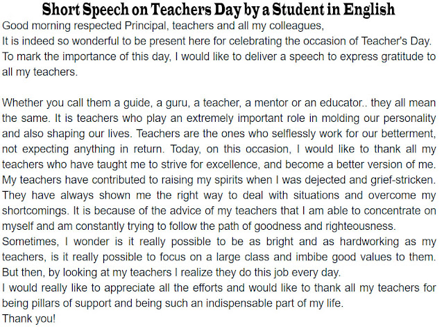 Short Speech on Teachers Day by a Student in English