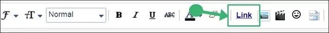 post editor tool bar me se link par click kare