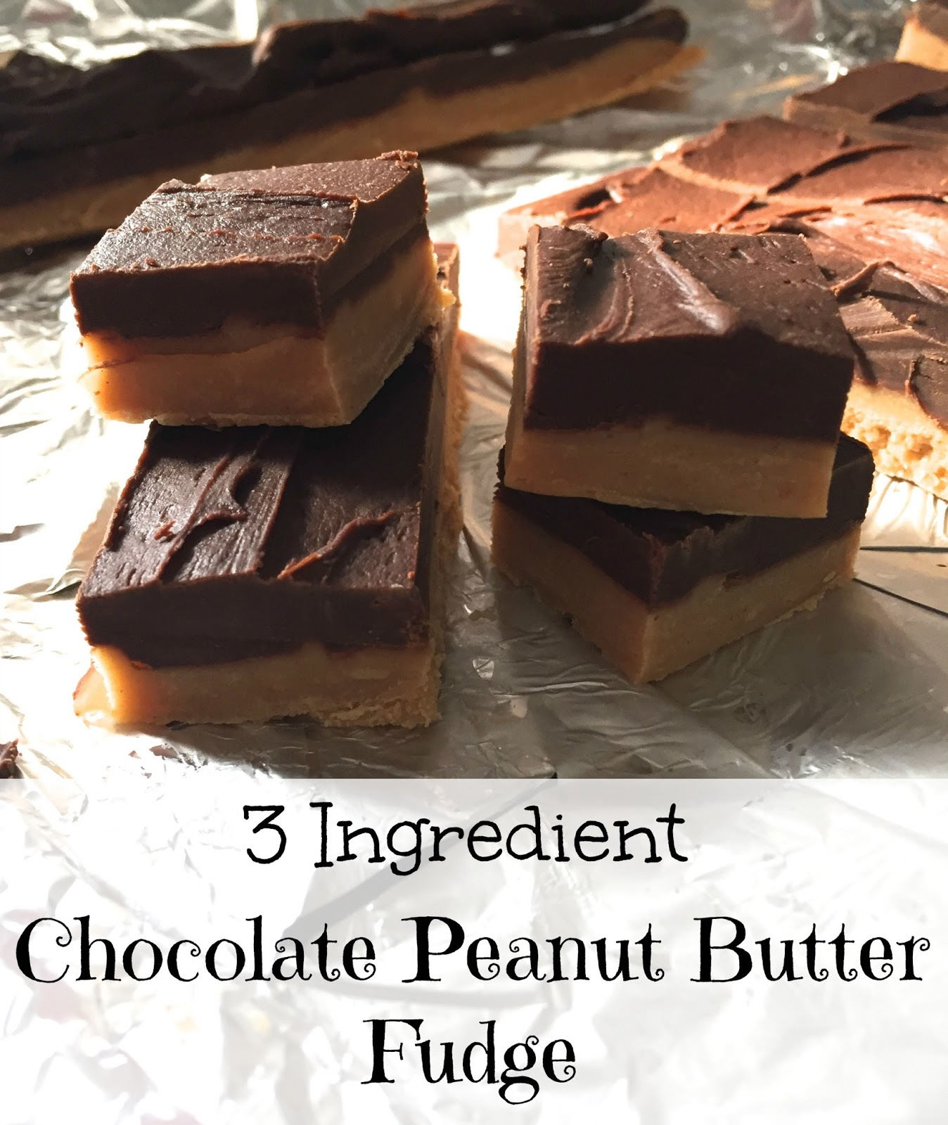 3 Ingredient Chocolate Peanut Butter Fudge Not Entirely