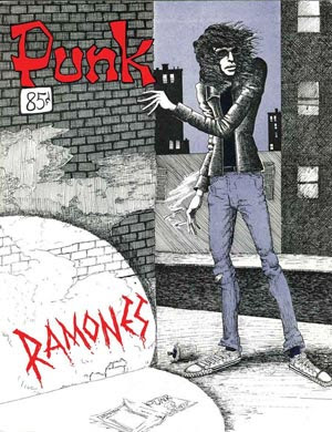 This is the cover of the April 1976 issue of Punk magazine, featuring the band Ramones, their first significant media recognition.
