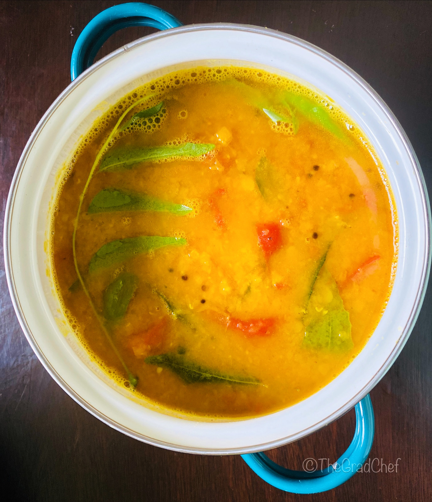 MASUR DAAL WITH TOMATO AND CURRY LEAVES (RED LENTIL SOUP)