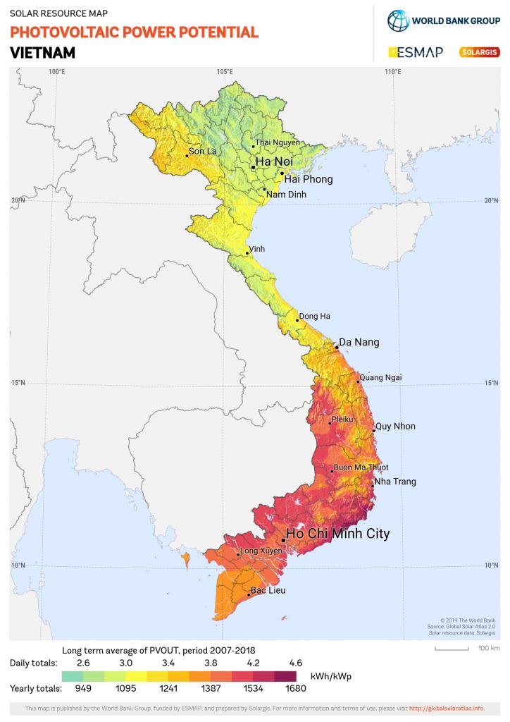 Biểu đồ vùng bức xạ mặt trời ở Việt Nam