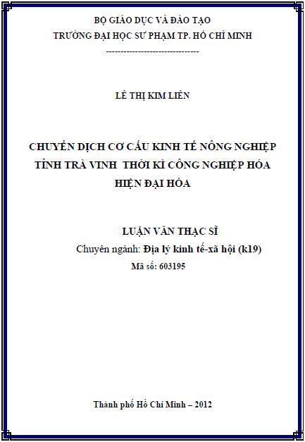 Chuyển dịch cơ cấu kinh tế nông nghiệp tỉnh Trà Vinh thời kì công nghiệp hóa, hiện đại hóa