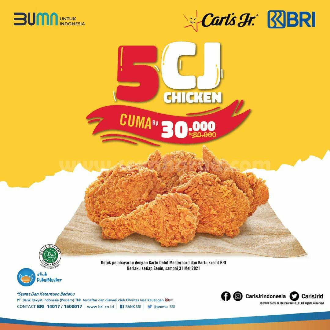 CARLS JR Promo 5 CJ Chicken cuma 30K dengan Kartu Kredit BRI