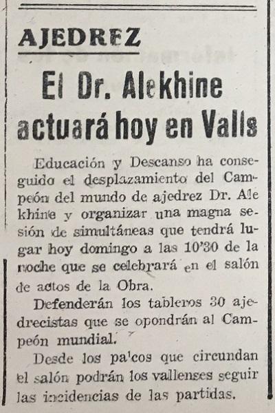 Simultáneas de Alexander Alekhine en Valls en 1944, recorte del Diario Español
