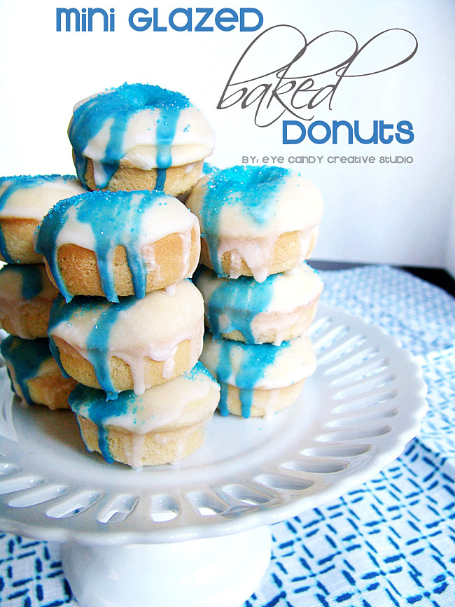 coffeemate creamer, homemade baked donuts, blue sprinkles, donut recipe