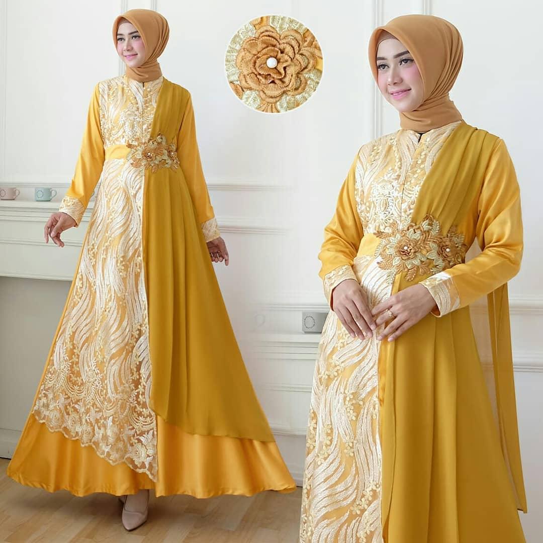Model Kebaya Modern Gamis Brokat Kombinasi Batik Baju Brokat 2020 Hijabfest