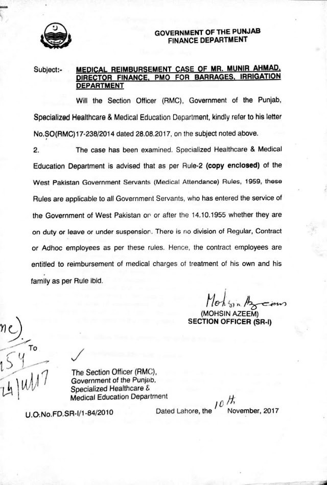 REIMBURSEMENT OF MEDICAL CHARGES OF TREATMENT TO CONTRACT EMPLOYEES