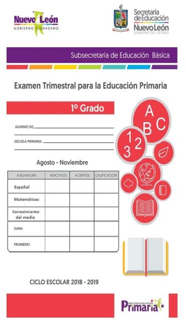 1er grado Primaria  Examen Trimestral Primer Trimestre