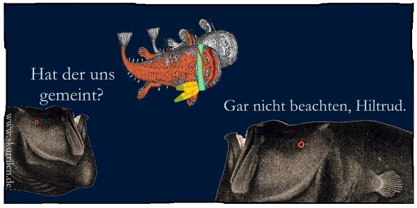 Tiefseefische, Grusel, Horror, Parodie, Ozean, Comic, Humor, Satire, Seeungeheuer, komisch, Collage