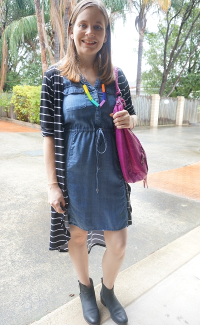 striped duster, ankle boots, Jeanswest Rachel Lyocell chambray dress, Balenciaga day bag | AwayFromBlue
