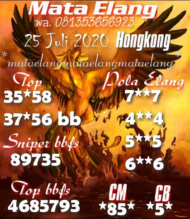 Kode syair Hongkong Sabtu 25 Juli 2020 17