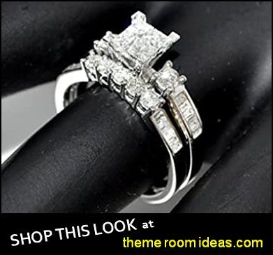 Diamond Bridal Set wedding rings engagement rings diamond rings Princess Cut White Gold
