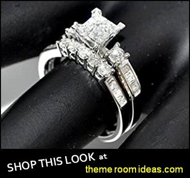 Diamond Bridal Set wedding rings engagement rings diamond rings Princess Cut White Gold