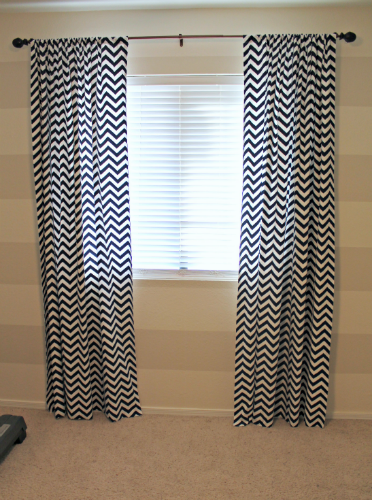 Away She Went Navy White Chevron Curtains
