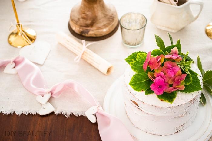 pink hydrangeas on fake cake