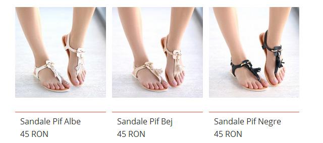 Sandale ieftine de vara cu talpa joasa lejere albe, negre, bej