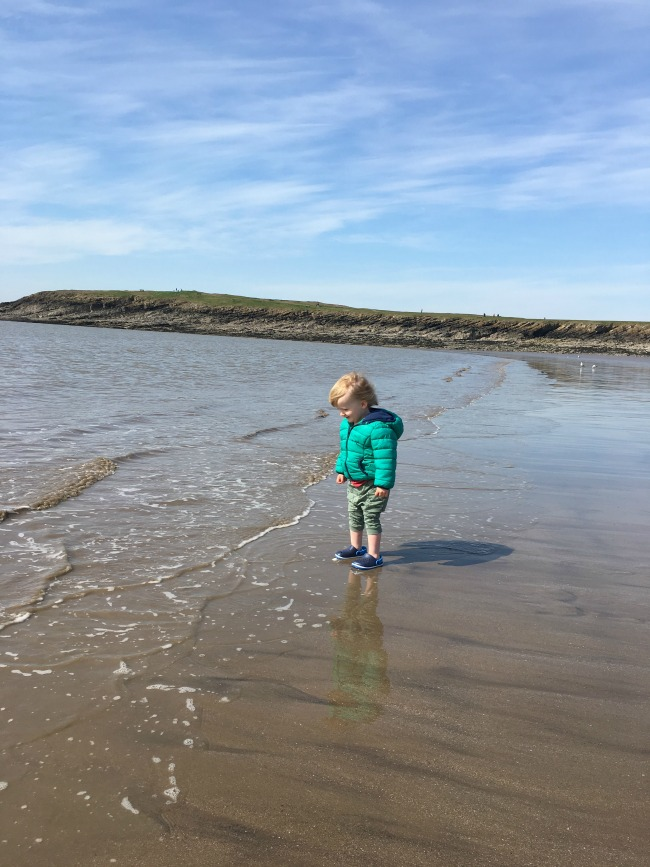 toddler in sea with coat on