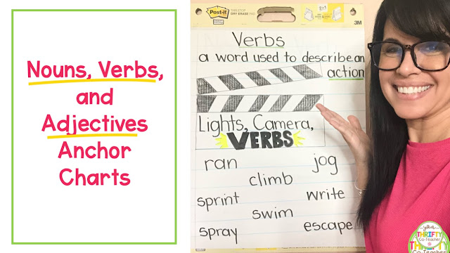 Reintroduce nouns, verbs, adjectives, and other parts of speech to upper elementary students with quick and easy to make anchor charts.