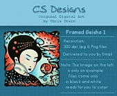 Framed Geisha Digital Stamp Series
