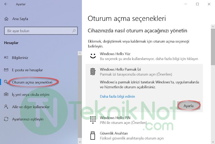 Windows Hello Parmak izi Okuyucusu Ayarlama
