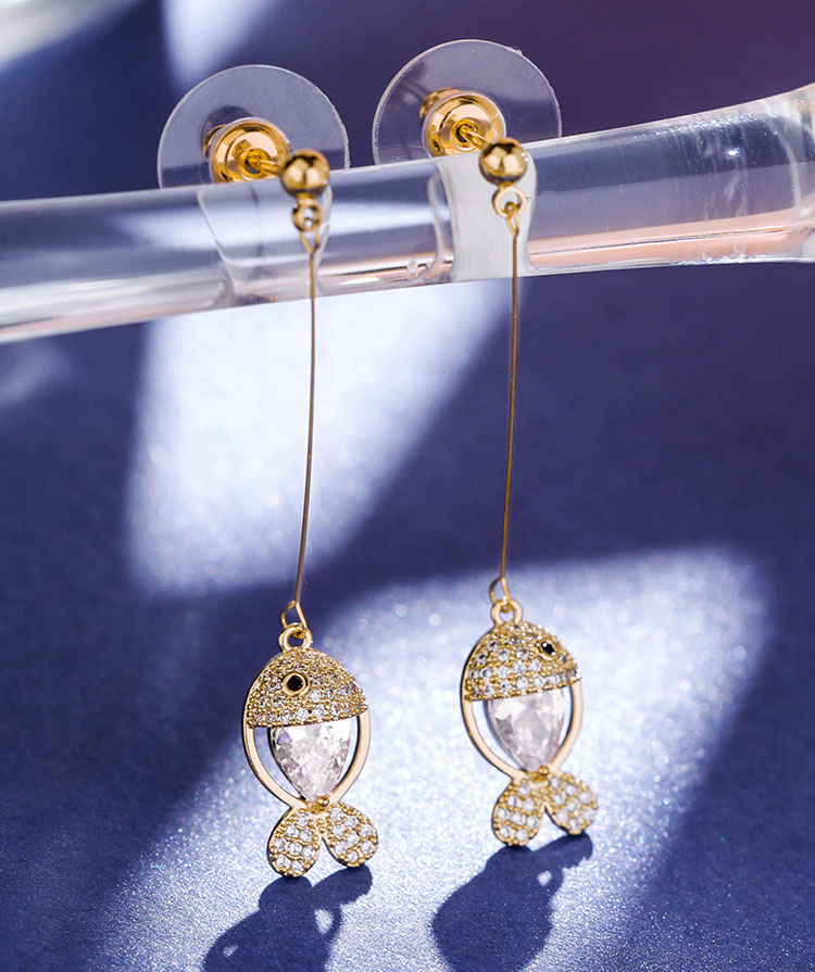 優游水晶小魚流蘇耳環
