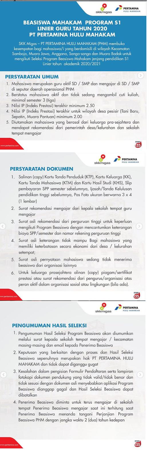 Penerimaan Seleksi Program Beasiswa PT PERTAMINA HULU MAHAKAM (PHM) Tingkat D3 D4 S1 S2 Mei 2020