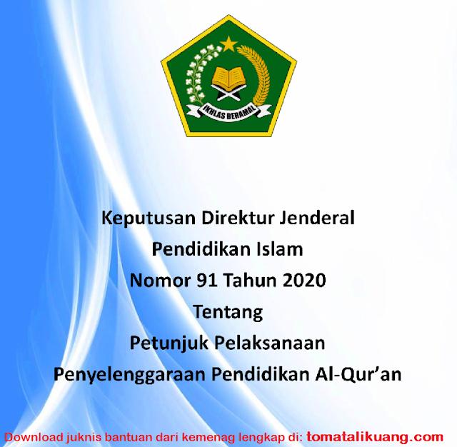 Download Petunjuk Pelaksanaan Penyelenggaraan Pendidikan Al-Qur'an Tahun 2020 PDF / Keputusan Direktur Jenderap Pendidikan Islam Nomor 91 Tahun 2020; tomatalikuang.com