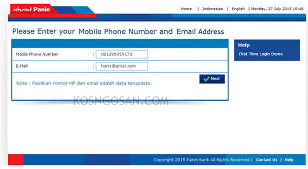 email sms paninbank