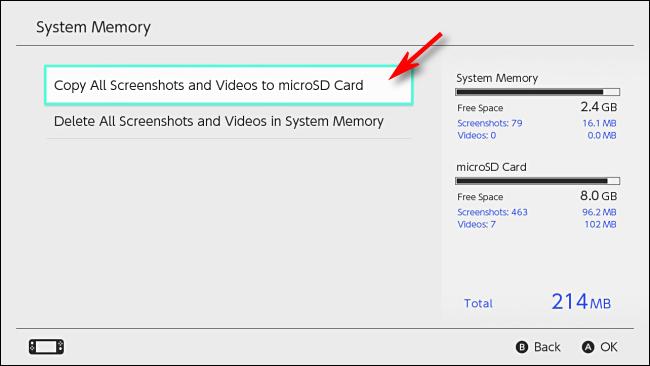 نسخ لقطات الشاشة لبطاقة microSD Nintendo Switch