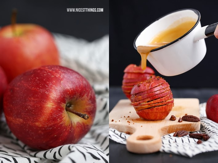 Apfel Millefeuille mit Nüssen und Karamellsauce