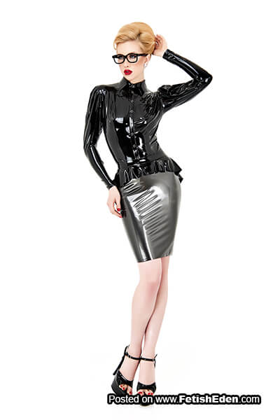 Hot blonde wears glasses and gray latex mini-skirt-with-black latex shirt