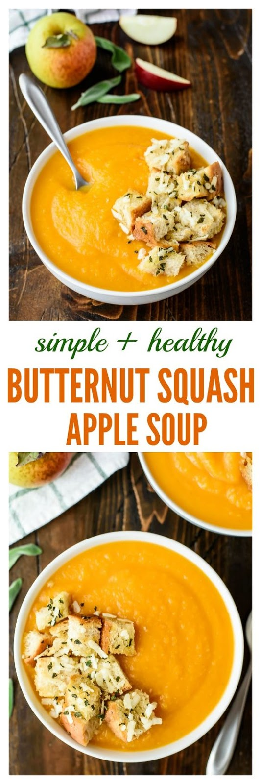 Butternut Squash Apple Soup with Sage Parmesan Croutons