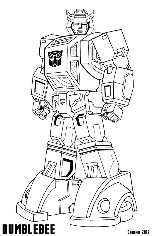coloring pages of bumblebee transformer
